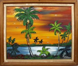 FREDDIE GIBSON FLORIDA ARTIST FIRESKY SUNSET