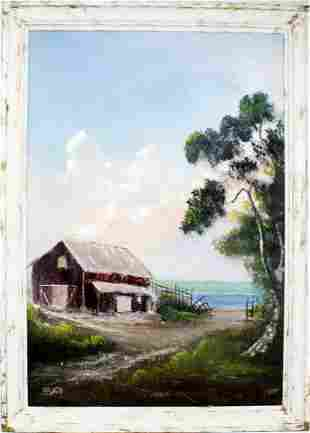 HORACE FOSTER FLORIDA ARTIST RED FISHING BARN