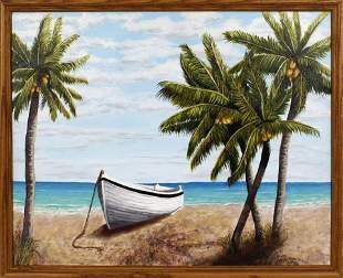 CAROLANN KNAPP FLORIDA ARTIST WHITE BOAT