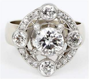 14K WHITE GOLD LADIES DIAMOND RING