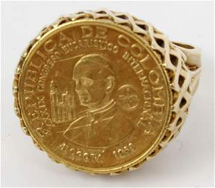 14K YELLOW GOLD COLUMBIAN GOLD COIN RING