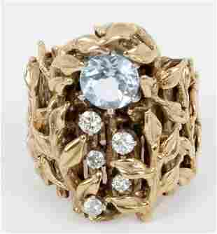 14K YELLOW GOLD DIAMOND AND AQUAMARINE RING