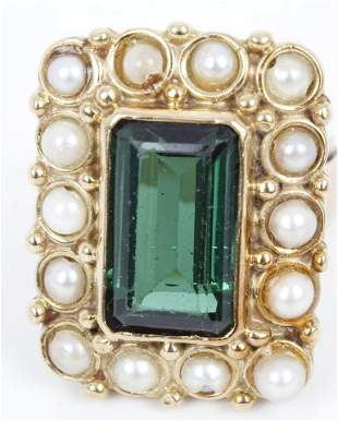 14K YELLOW GOLD PEARL AND EMERALD LADIES RING
