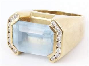 18K YELLOW GOLD DIAMOND BLUE TOPAZ LADIES RING
