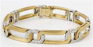 18K YELLOW GOLD DIAMOND FIGARO BRACELET