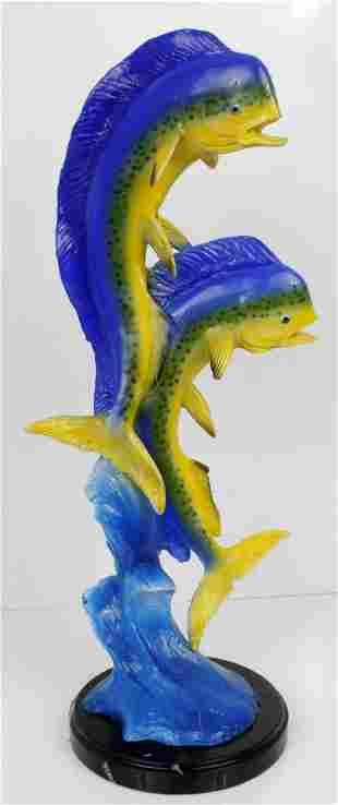 JAY WILLIAMS ENAMELED BRONZE 2 MAHI FISH STATUE