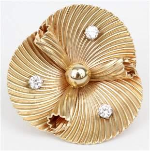14K CARTIER BROOCH PIN DIAMONDS FLORAL