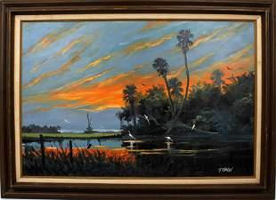 TRACY NEWTON JUMBO TEAL SUNSET