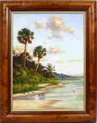 GEORGE ROWE FLORIDA LANDSCAPE OIL ON CANVAS
