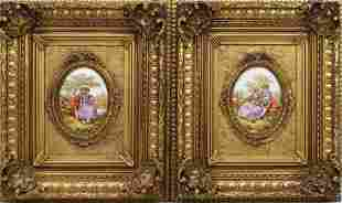 FRENCH LIMOGES CAMEO IN GILT FRAME SET