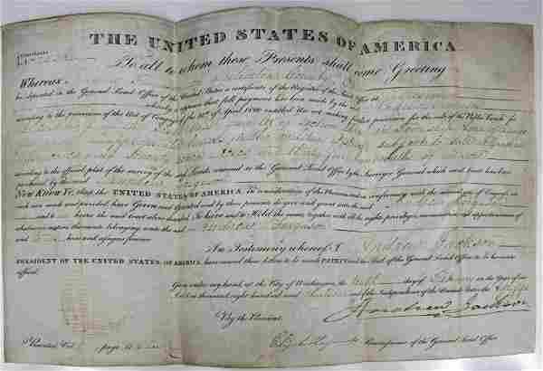 ANDREW JACKSON SIGNED LAND GRANT 1831