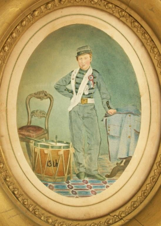 CIVIL WAR WATERCOLOR PAINTING OF A DRUMMER BOY