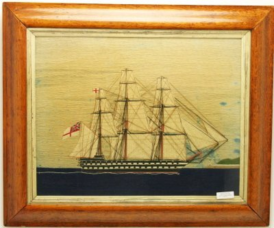 ROYAL NAVY ENGLISH SAILORS WOOLIE NEEDLEWORK PICTURE