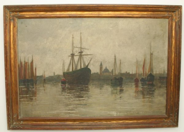 19TH CENTURY OIL ON CANVAS PAINTING VENICE HARBOR