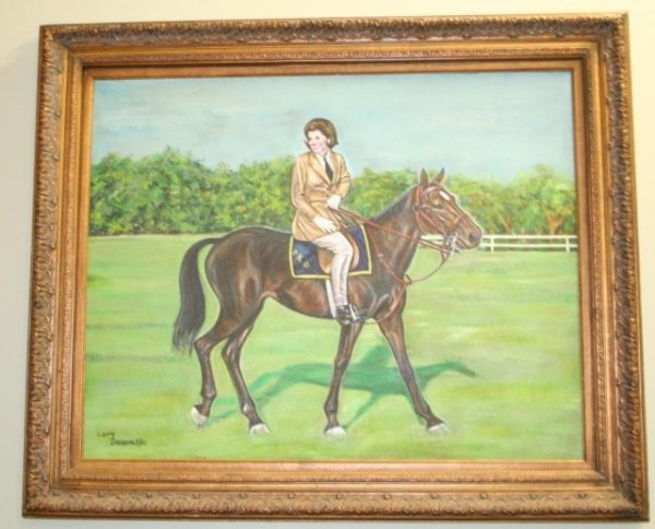 OIL ON BOARD OF JACKIE KENNEDY BY LARRY DENSON