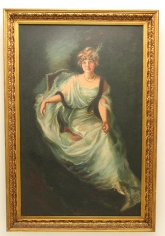 OIL ON CANVAS PAINTING OF A LADY - K MARSHALL