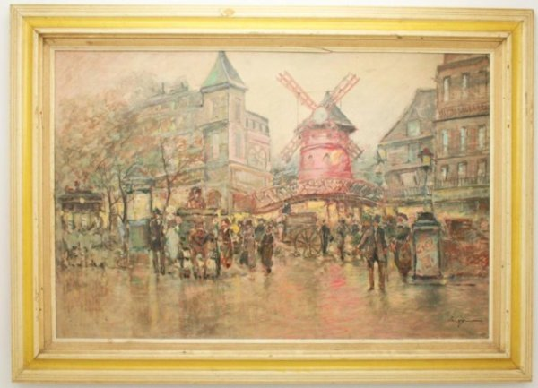 OIL ON CANVAS PAINTING OF A STREET SCENE - NAGY