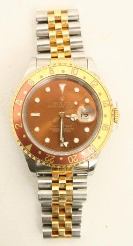 MENS 18K GOLD & STAINLESS ROLEX GMT II WATCH