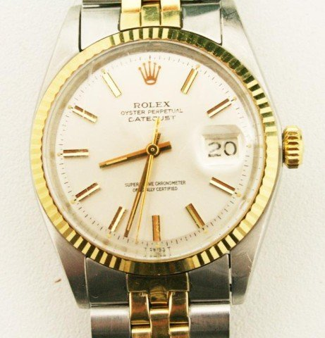 MENS 14K GOLD & STAINLESS ROLEX JUBILEE WATCH