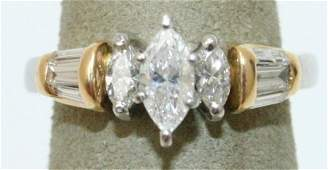 LADIES 2 TONE 18K  PLATINUM MARQUISE DIAMOND RING