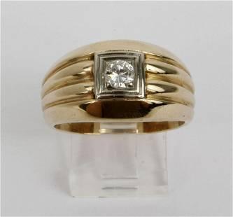 MENS 10K GOLD DOMED DIAMOND BAND RING .33 CT