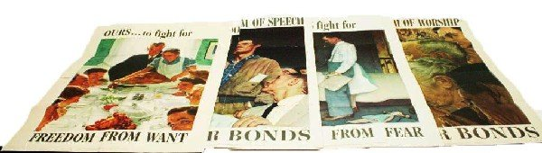 4 WWII WAR BOND POSTERS