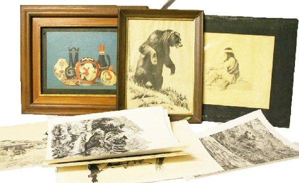 SIGNED LOT OF PRINTS & OIL PAINTING WILDLIFE