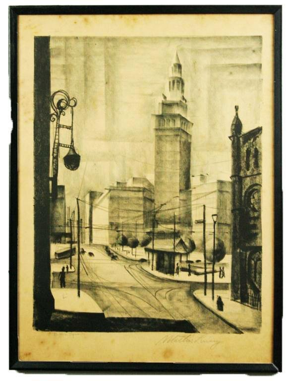 "MARTIN LINSEY SIGNED LITHOGRAPH ""PUBLIC SQUARE"""