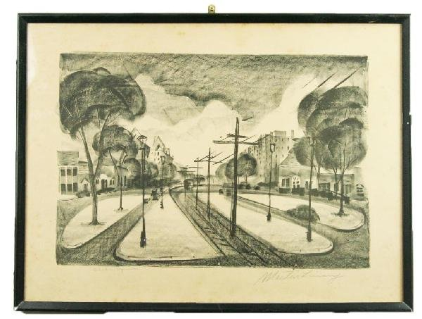 "MARTIN LINSEY SIGNED LITHOGRAPH ""SHAKER SQUARE"""