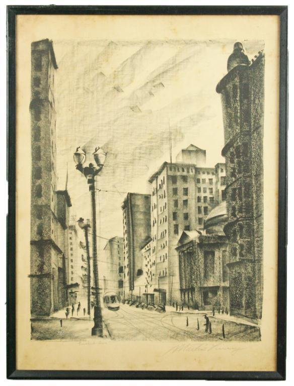 "MARTIN LINSEY SIGNED LITHOGRAPH ""EUCLID AVE"""