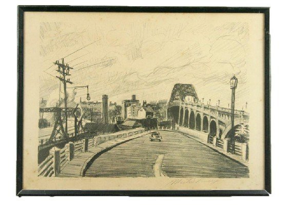 "MARTIN LINSEY SIGNED LITHO ""COLUMBUS ROAD RAMP"""