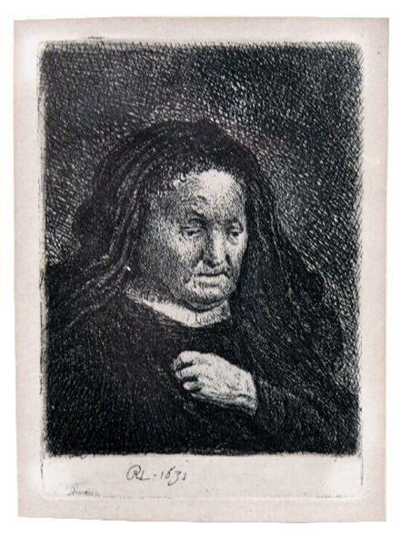 VAN RIJN-ETCHING 1631 REMBRANDT THE ARTISTS MOTHER