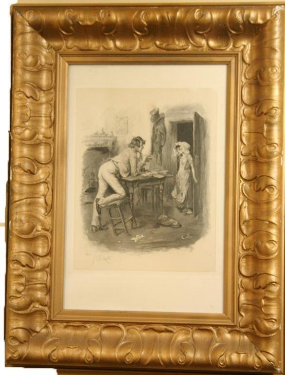 ARTIST SIGNED ENGRAVING OF A MAN AT A DESK