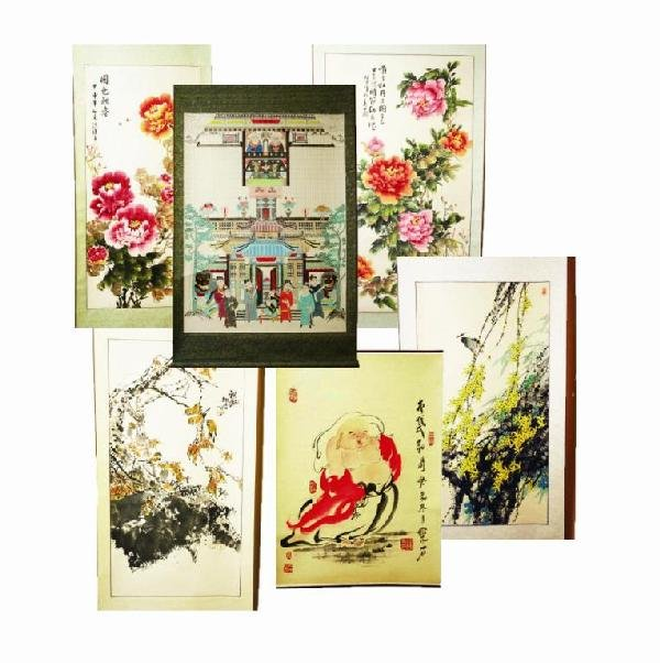 6 CHINESE WATERCOLOR SCROLLS PAINTED TO SILK BACK