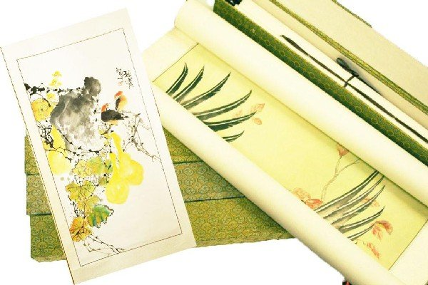 5 CHINESE WATERCOLOR SCROLLS PAINTED TO SILK BACK