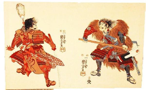 20th CENTURY JAPANESE WOODBLOCK PRINT ON CLOTH
