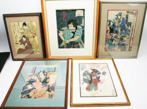 LOT OF 5 JAPANESE WOOD BLOCK PRINTS