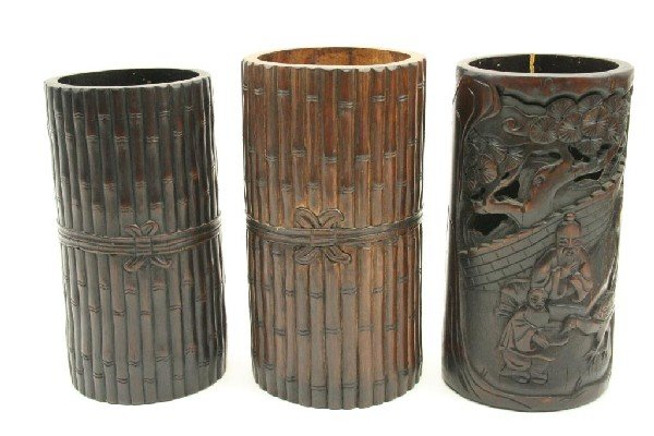3 CHINESE BAMBOO CARVED BRUSH POTS