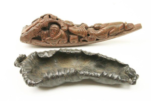 TWO ANTIQUE JAPANESE WOOD CARVINGS