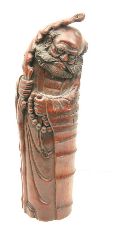 ANTIQUE CHINESE CARVED BAMBOO DEITY FIGURE