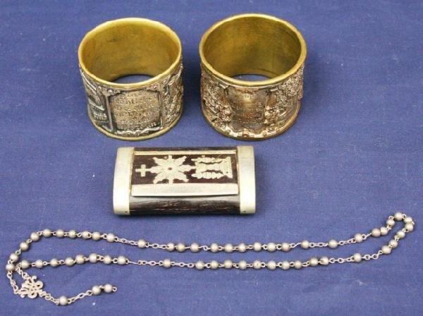 2 HEAVY GERMAN NAPKIN RINGS & A SNUFF BOX