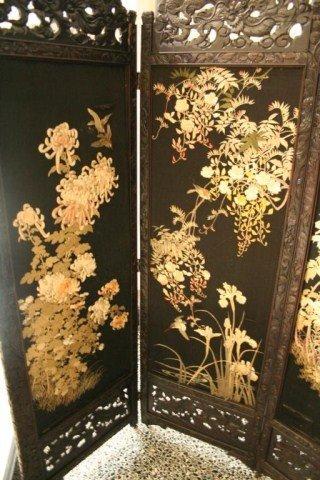 CHINESE 4 PANEL ROSEWOOD SILK SCREEN - 6