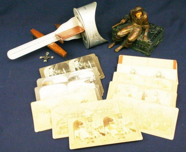 STEREOVIEW CARDS STEREOVIEWER & A CAST IRON BOX