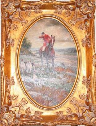 PAINTING - OIL ON CANVAS OF A HUNT SCENE