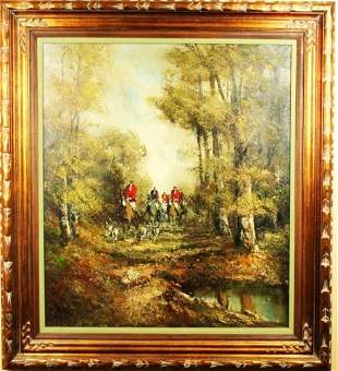 PAINTING - OIL ON CANVAS FOX HUNT SCENE SIGNED