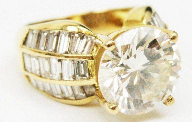 LADIES 6 CARAT DIAMOND SOLITAIRE 18K GOLD RING
