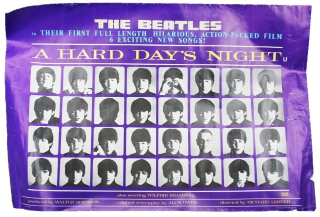 MOVIE POSTER - THE BEATLES A HARD DAY'S NIGHT