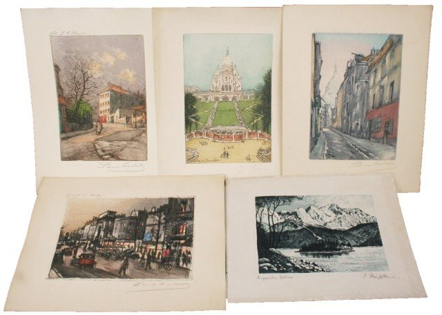 LOT OF EARLY 20TH CENTURY FRENCH COLORED ETCHINGS
