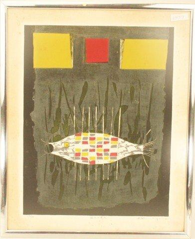 GORO KUMAGAI - SIGNED ETCHING OF A FISH