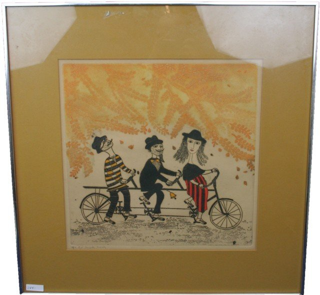FRENCH SURREALIST BICYCLE LITHOGRAPH SIGNED